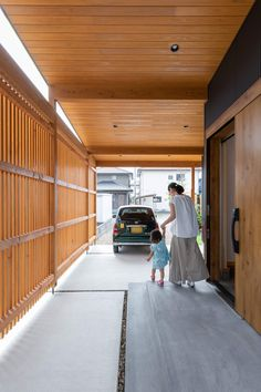Home Room Design, Dream Home Design, House Design, Modern Tropical House, Japanese Style House, Courtyard House Plans, Style Japonais, Narrow House, House Entrance