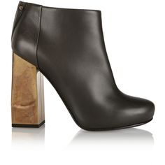 Lanvin Leather ankle boots (1.800 BRL) ❤ liked on Polyvore featuring shoes, boots, ankle booties, anthracite, leather booties, leather bootie, short leather boots, bootie boots and high heel boots