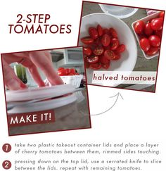 how to slice cherry tomatoes in 2 steps