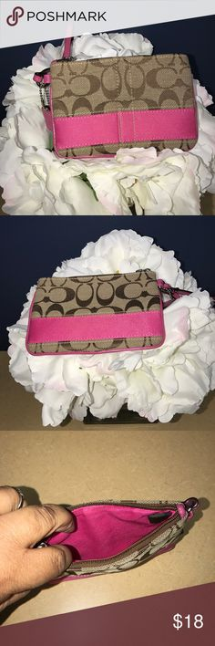 Coach Signature Wristlet Clean. Very good used condition. Coach Bags Clutches & Wristlets