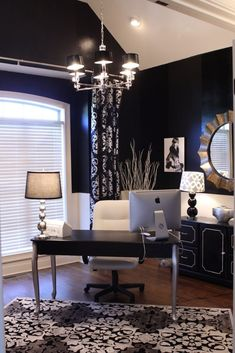 The Perfect Office - Navy walls, black and white accents, large mirror. Modern, classic, traditional