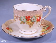 Bell China Hand Enamelled Floral Vintage Bone China Tea Cup and Saucer Pattern 4280