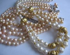 vtg 3 pc Lot Group Collection Destash Gold madmen multi-strand steampunk Rhinestone Faux Pearl Wide Necklaces Necklesses FREE SHIPPING USA