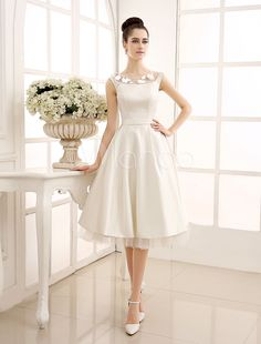 Tea-Length Ivory Reception Wedding Dress with Sheer Lace
