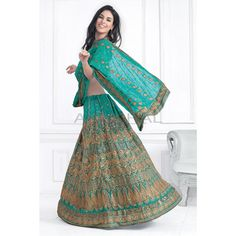 Turquoise Green Faux Georgette #Lehenga With Matching Choli And Dupatta #IndianLehenga #WomenClothing #EthnicWear #WomenWear #WomenFashion