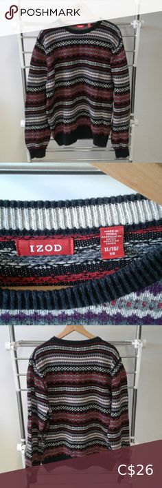 I just added this listing on Poshmark: Izod men's sweater colorful striped. #shopmycloset #poshmark #fashion #shopping #style #forsale #Izod #Other Black Sweaters, Cotton Sweater, Men Sweater, Pic Nice, Grey Shirt Dress, Dark Wash Jeans, Striped Knit, Long Sleeve Sweater