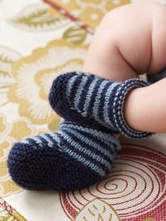 Knit these cute stripe/plain bootees to keep those little feet warm and toasty.