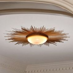 Simple Details: diy gold sunburst flush mount light - dress up lights you can't change maybe? #rental #apartment
