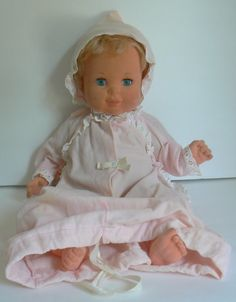 Baby Dreams Doll: one of my favorite dolls. She had velvet-like skin and would close her eyes when you laid her on her side. She was loved so much by me that the velvet started wearing off of her cheeks...