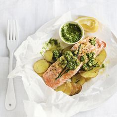 Salmon and potato parcels, a delicious recipe in the new M&S app.