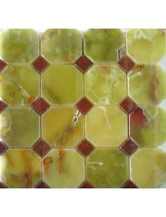 3x3 Green Onyx Octagon Pattern Polished Finish Mosaic Tile with 1 in. Red Dot #Green_Onyx #Octagon_Pattern #Mosaic_Tile #3x3_Octagon
