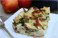 Simple & delicious this breakfast casserole has many layers of flavor with just a few ingredients, including bacon, spinach, egg whites & smoked Gouda.