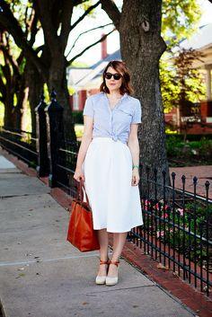 tied top + midi skirt