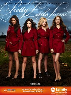 It looks like Alison won't be the only one sporting the infamous red coat this season. ABC Family has released their first look poster for the fourth season of #PrettyLittleLiars. Tune-in to the 'Pretty Little Liars' season 4 premiere June 11th on ABC Family.