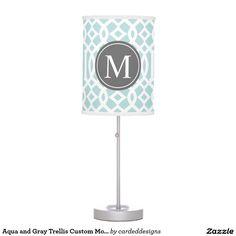 Aqua and Gray Trellis Custom Monogram Table Lamp