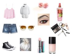 """""""Friday Night Fun💛"""" by isabellerivette on Polyvore featuring MANGO, AG Adriano Goldschmied, Converse, Oliver Peoples, MAC Cosmetics and Borghese"""