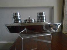 Vintage Boat Ship Cruise Liner Chrome & Bristol Blue Glass Liners Condiment Set