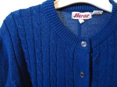 True Vintage 70's Blue Button Down Cable Knit by POPWILDLIFE, $32.00