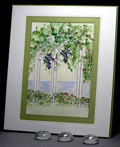 Art Impressions water color. Ai Wonderful Watercolor. Floral arbor arch handmade card.