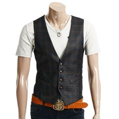 DOUBLJU Mens Casual 4button Slim Checks Vest (094D): Amazon.com: Clothing