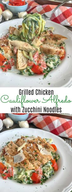 Grilled Chicken Cauliflower Alfredo with Zucchini Noodles is a very creamy cauliflower Alfredo sauce that not only replaces traditional Alfredo sauce in a healthy way, but has been perfected! under 275 calories per serving! Zucchini Noodle Recipes, Zoodle Recipes, Spiralizer Recipes, Pasta Recipes, Low Carb Recipes, Cooking Recipes, Healthy Recipes, Healthy Foods, 21dayfix Recipes