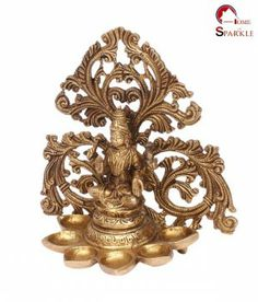 Home Sparkle Golden Brass Lakshmi with Diya