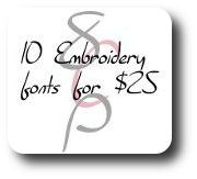 Create a Font 10-Pack - great prices on embroidery fonts for Brother SE 400 at 8 Claws and a Paw