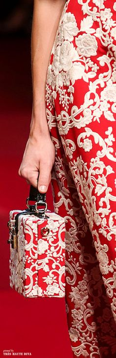 Dolce & Gabbana Rosso And Ecru Embroidered Cady Box Bag ♔ SS 2015