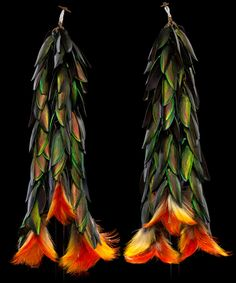 Shuar akitiai (ear ornaments), c. 1930. Upper Amazon, Ecuador. Beetlewing covers, toucan feathers, plant fibers, glass beads. via @AmericanIndianMuseum Ethnic Jewelry, Gems Jewelry, Antique Jewelry, Beaded Jewelry, Jewelery, Wing Necklace, Tribal Earrings, Bead Earrings, Insect Jewelry