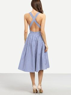 Summer Romantic Blue Striped Sleeveless Criss Cross Back Dress - Crystalline