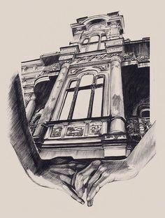 Impresionantes dibujos de arquitectura-la obra de Dasha Pliska.
