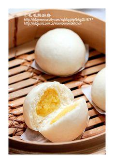 媲美饭店里的-【奶黄包】 | MaomaoMom Kitchen 毛毛妈厨房 - gedämpftes Brötchen mit Custardfüllung