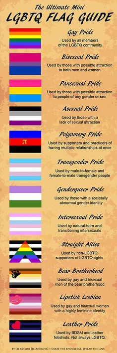 """""""The Ultimate LGBTQ Flag Guide Gay Pride Bisexual Pride Pansexual Pride Asexual Pride Polamory Pride Transgender Pride Genderqueer Pride Intersex Pride Straight Allies Bear Brotherhood Lipstick Lesbians Leather Pride http://asexy-slice-of-cake.tumblr.com/post/36651136783/rainbowdoubts-for-beginners-this-is-cool"""