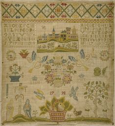 Unknown 1798. Delicate alphabets take second seat behind a beautiful cartouche with a city scape and a pretty top band of stylized flowers/stars.