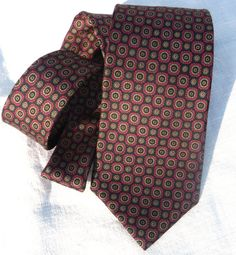Vintage Black and Red Silk Tie with Foulard Style Small Flowers All Over. Classic. By US Designer Bert Pulitzer.  At AngelGrace on Etsy.