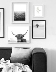 Black and White Gallery Wall Prints | Modern Scandinavian Living Room Decor. Art Prints by Little Ink Empire