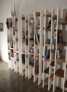 Wall-mounted lacquered reclaimed wood bookcase R60 Recylced Collection by Kann Design | design Nicola Santini, Pier Paolo Taddei