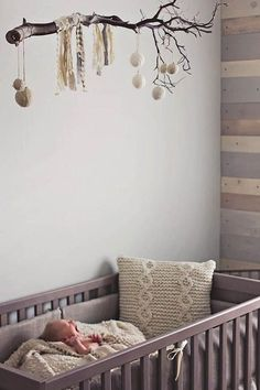 7 Creative Nursery Trends  Just loving this mobile! So simple and so cute! - This nature-inspired nursery is our favorite!!!!
