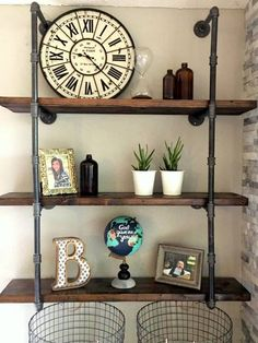 34 Industrial Black Iron Pipe Shelf Shelving (Lumber not Included) Decor, 2x10 Lumber, Rustic Diy, Shelves, Industrial Decor, Shelving, Home Decor, Iron Shelf, Laundry Room Makeover
