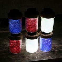 July 4th Solar Mason Jar Lights