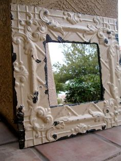 Architectural Salvage Cream MIRROR / Antique Ceiling Tin Home Decor / Wall Hanging / Wall Decor / Architectural Salvage