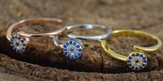 18k Gold / 925 Sterling Silver Sapphire Topaz Evil Eye by pass wrap Adj. Ring   #MGK #Protection #anytime