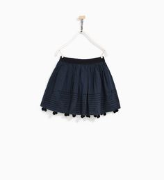 Image 2 of EMBROIDERED SKIRT WITH POMPOM from Zara