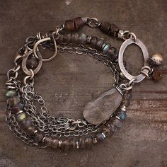 Duo . Two bracelet with labradorite and Baltic amber . by ewalompe