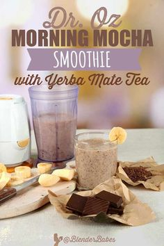 This Dr. Oz morning mocha smoothie recipe is a great coffee-free way to start your day with an energy boost! Yerba Mate tea can help relieve stress Energy Smoothie Recipes, Fruit Smoothie Recipes, Good Smoothies, Mocha Smoothie, Raspberry Smoothie, Superfood, Mate Tee, Flaxseed Smoothie, Yogurt