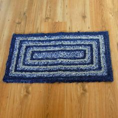 Navy and Grey Recycled Locker Hook Throw Rug Door Mat by SnowmanCollector on Etsy https://www.etsy.com/listing/511723985/navy-and-grey-recycled-locker-hook-throw