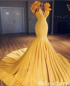 Charming Mermaid V-Neck Sleeveless Yellow Long Prom Dress with Ruffles Prom Dresses Long, Sleeveless Prom Dresses, Yellow Prom Dresses, Prom Dress, Mermaid Prom Dresses Prom Dresses 2020 Yellow Evening Dresses, Mermaid Evening Dresses, Evening Gowns, Evening Party, Dinner Gowns, Yellow Gown, Cheap Prom Dresses, Prom Party Dresses, Party Gowns