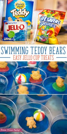 Easy Swimming Teddy Bear Jello Cups by Press Print Party!, Easy Swimming Teddy Bear Jello Cups by Press Print Party! Picnic Birthday, Summer Birthday, Pool Party Birthday, Birthday Party Food For Kids, Beach Ball Birthday, Beach Ball Party, Birthday Ideas, Pool Party Kids, Swim Team Party