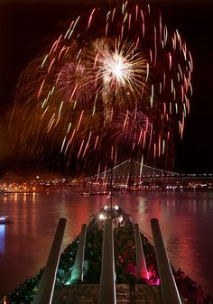 A view from the Battleship New Jersey of the New Year's Eve fireworks in Philadelphia. Photo by R. Kennedy for GPTMC.