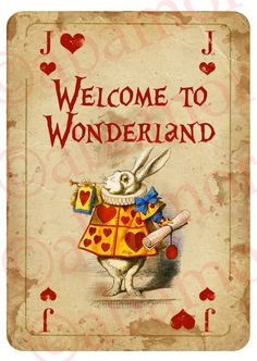 1 Alice in Wonderland A4 WELCOME SIGN Playing Card Prop Mad Hatters Tea Party in Home, Furniture & DIY, Celebrations & Occasions, Party Supplies | eBay